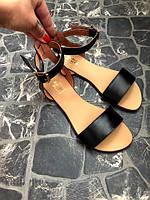 Классические сандалии босоножки женские кожаные на сплошной подошве 34-42 размер черного цвета