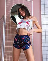 Женская пижама шелковая фламинго синие шортики, фото 1