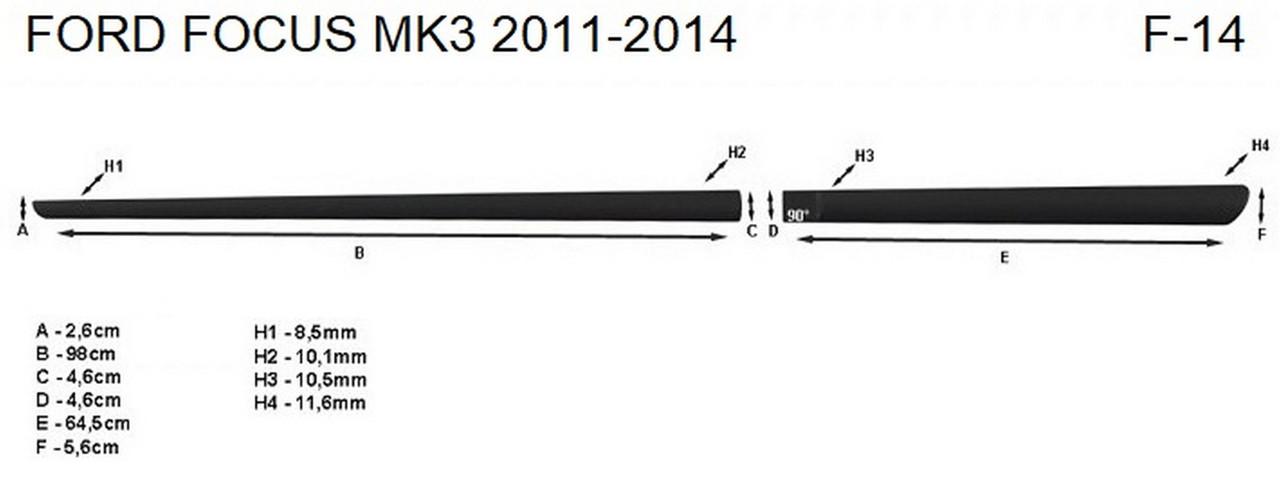 Молдинги на двері для Ford Focus Mk3 2010-2014, фото 5