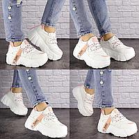 Женские стильные белые кроссовки Sabella 1515 Эко-кожа  Размер 39 - 24,5 см по стельке, обувь женская