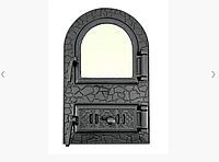 Дверца для печи и барбекю 530 х 330 мм, дверца печная со стеклом, фото 1