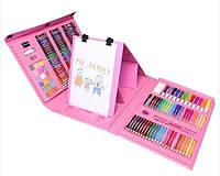 Художественный набор для творчества с мольбертом для детей рисование предметы в чемоданчике, 176 предметов