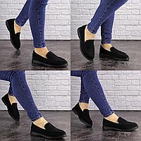 Женские туфли Rusty черные 1630 Эко-замша  Размер 37 - 23,5 см по стельке, обувь женская