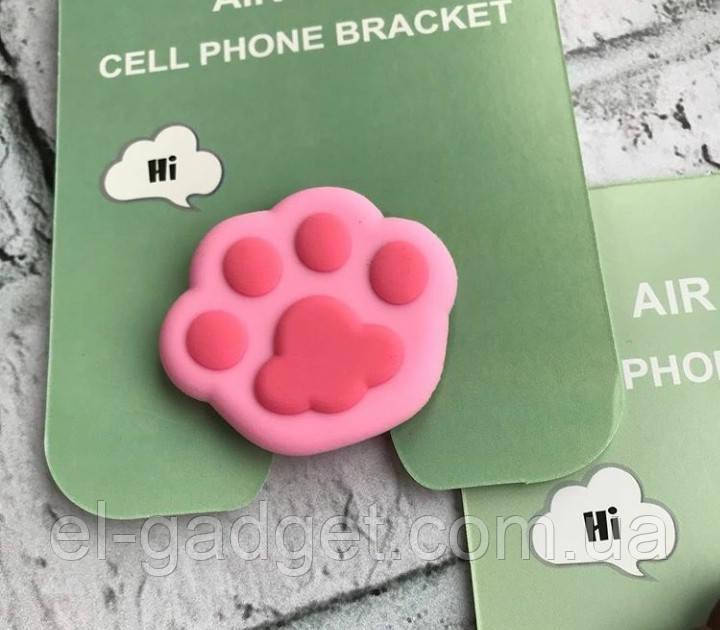 Попсокет Popsockets 3D держатель, подставка для телефона Лапка розовая