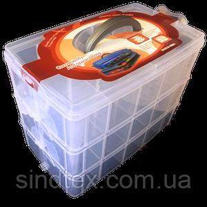 24,5x16x18см пластиковая тара (чемоданчик, контейнер, органайзер) для рукоделия и шитья (657-Л-0211)