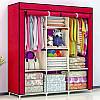 Складаний тканинний шафа, шафа для одягу Storage Wardrobe 88130 на 3 секції Wine Red