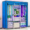 Складаний тканинний шафа, шафа для одягу Storage Wardrobe 88130 на 3 секції Blue