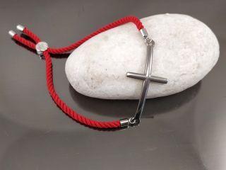 Браслет Ананас с цирконами на красном шнурке, цвет платина