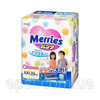 Японские подгузники-трусики дляноворожденных детей  Merries размер XXL 15-28 кг, 26 шт