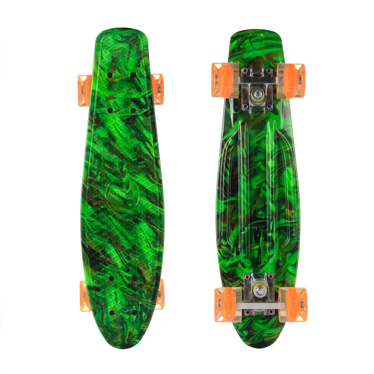 Пенни Борд Best Board 25, двухсторонний окрас, колёса PU светятся Зеленый