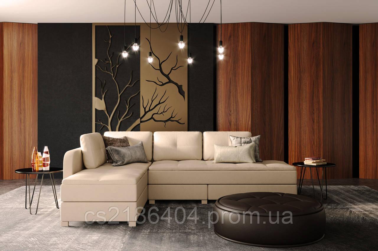 """Раскладной угловой диван в качественной ткани светлого цвета """"Ден"""""""