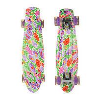 Пенні Борд Best Board 25, двосторонній забарвлення, колеса PU світяться Квіти