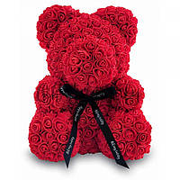 Мишка Тедди из искусственных 3D роз в коробке 25 см красный