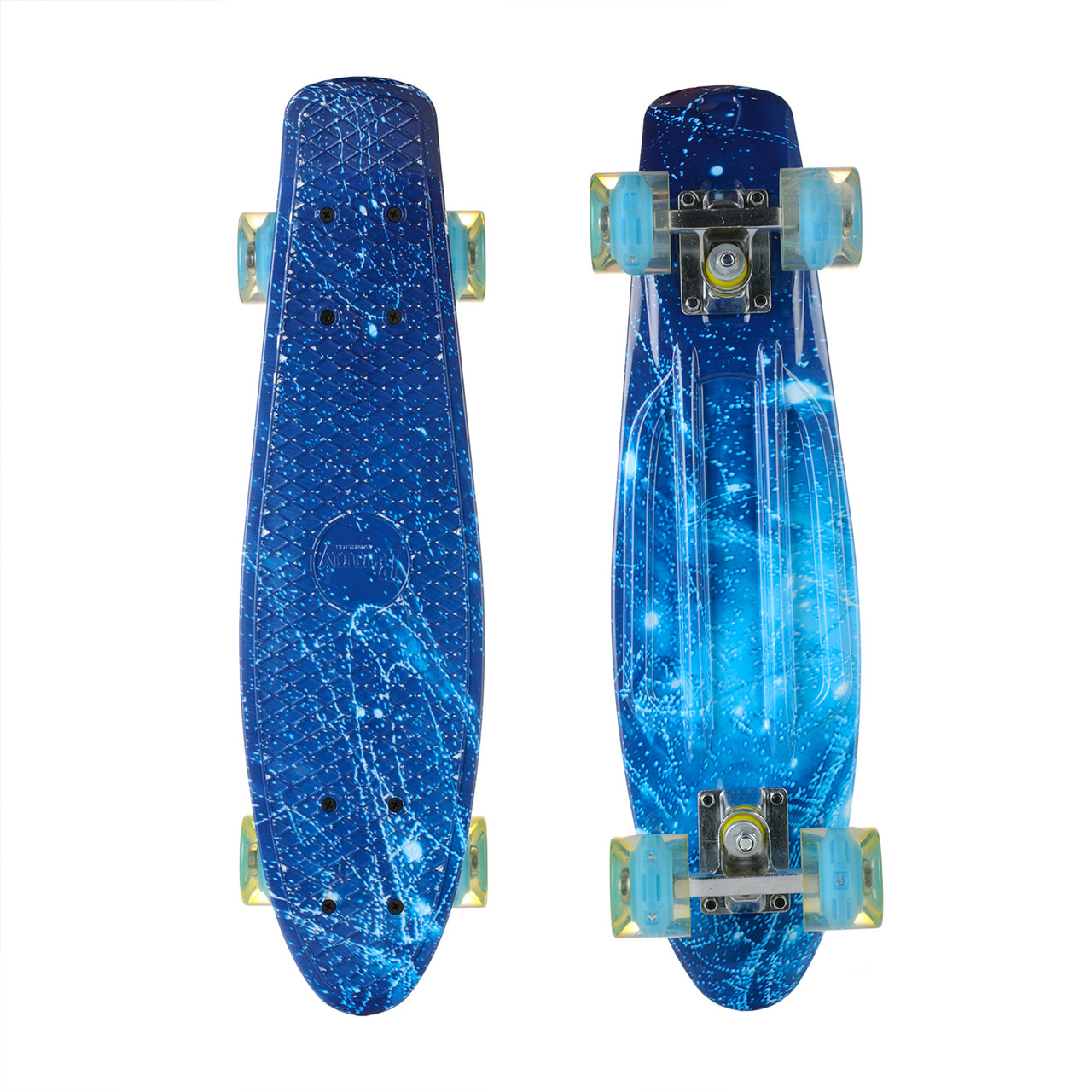 Пенни Борд Best Board 25, двухсторонний окрас, колёса PU светятся Голубой Лед