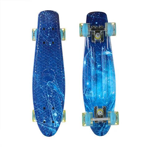 Пенни Борд Best Board 25, двухсторонний окрас, колёса PU светятся Голубой Лед, фото 2