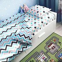 Комплект постельного белья  в кроватку Звезды -прянички голубые, поплин, фото 1