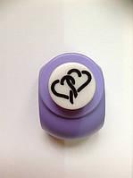 Дырокол фигурный Два сердца кнопка 1,8 см