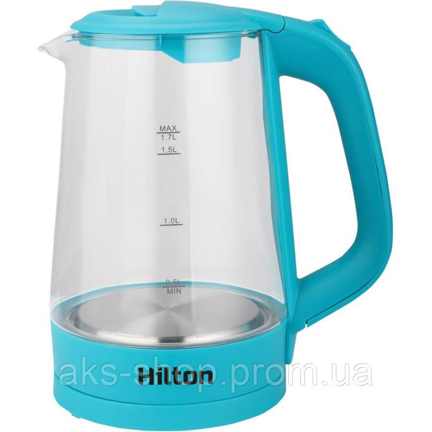 Электрочайник стеклянный с подсветкой Hilton HEK-177 мощность 2000 Вт 1,7 л