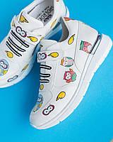 """Жіночі кросівки """"Colored Owls"""" (кольорові сови), білі"""