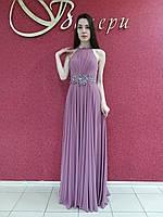 Вечернее длинное шифоновое нарядное платье-сарафан розовое сиреневое на свадьбу на выпускной, коктейльное