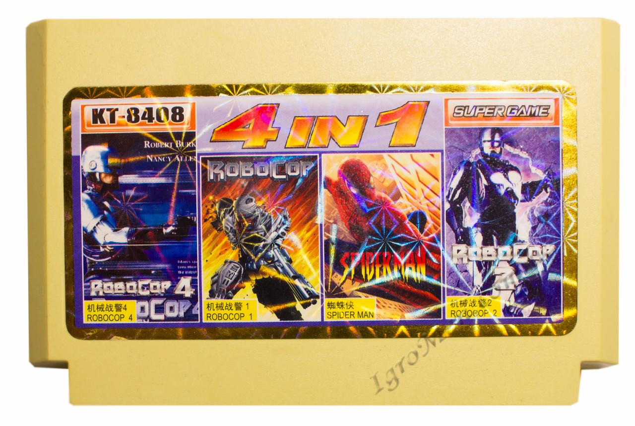 Картридж денди 3 в 1 Robocop 1, 2, 3,  Spiderman