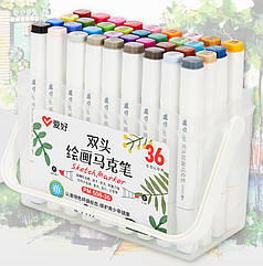 Набор двухсторонних скетч маркеров AIHAO PM508-36, 36 шт.