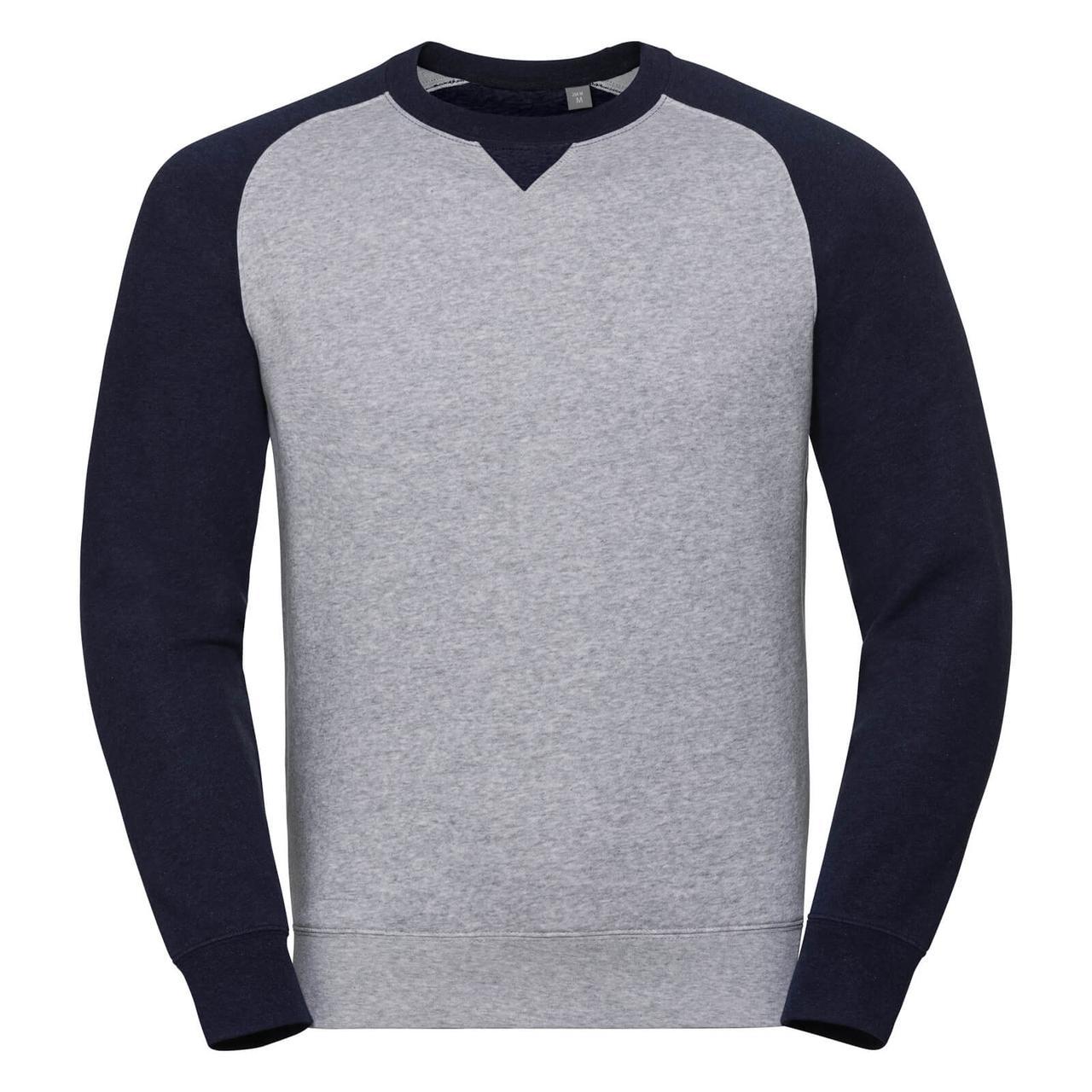 Мужской свитер бейсбольный с синими рукавами 264-32