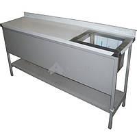 Стол производственный разделочный с ванной моечной сварной с полкой СППВС