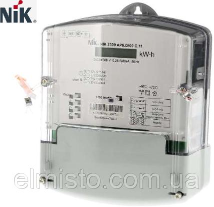 Электросчетчик NIK 2300 AP6T.1202.MC.11 3x220/380В 5(80)А 4 тарифа, RS-485, реле, оптопорт, защита