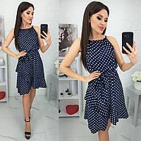 Легкое платье  из тонкого софта в трендовый горошек синего цвета