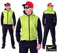 Мужской модный трикотажный спортивный костюм с плащевкой. 3 цвета!
