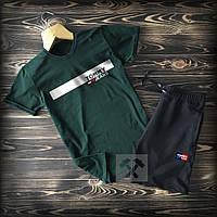 Мужской спортивный комплект Tommy Jeans (реплика), футболка + шорты. Цвет: зеленый