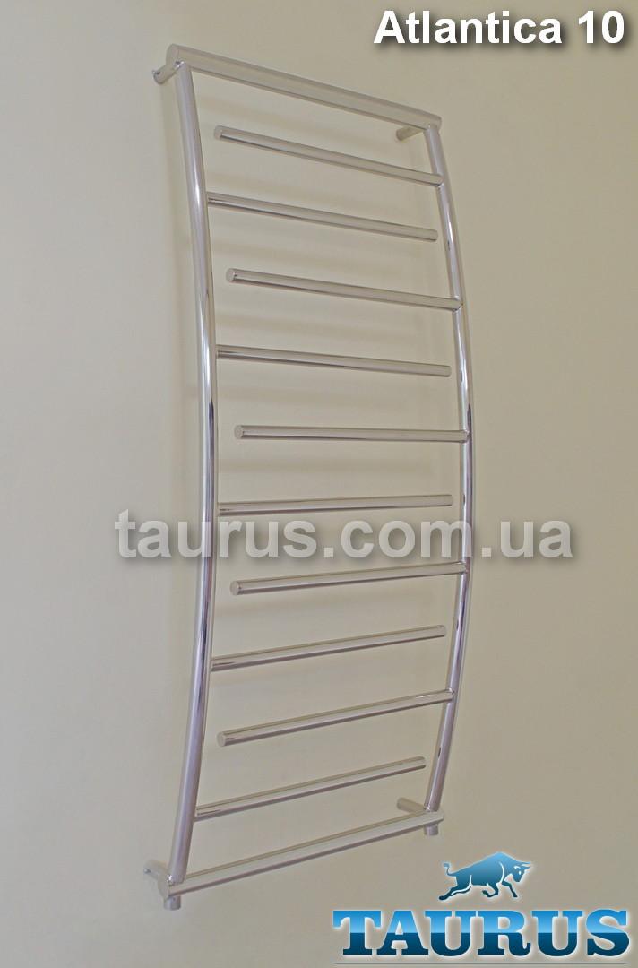 Узкий выгнутый полотенцесушитель Atlantica 10/1150х400 для ванной комнаты из н/ж стали. Перемычки d20 тупиком