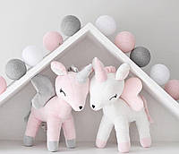 Гирлянда 20 шариков белый-розовый-серый