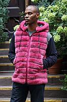 Мужской жилет из кролика рекс  розового цвета