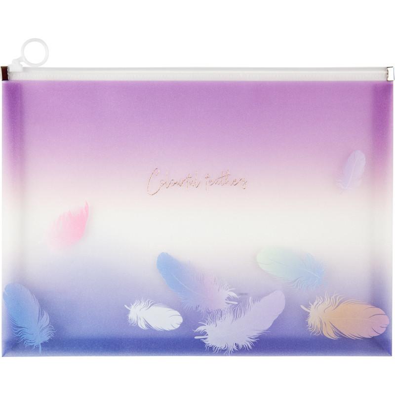 Папка-конверт на молнии Axent Colourful Feather 03 A4 прозрачная с блестками