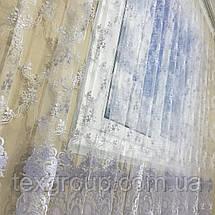 Готовая фатиновая тюль с цветочной вышивкой №24Н2 4м, фото 2