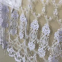 Готовая фатиновая тюль с цветочной вышивкой №24Н2 4м, фото 3