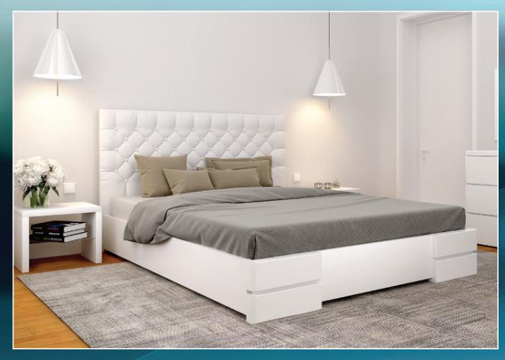 Деревянная кровать из массива дерева- Камелия , с мягким изголовьем. 1,6*2