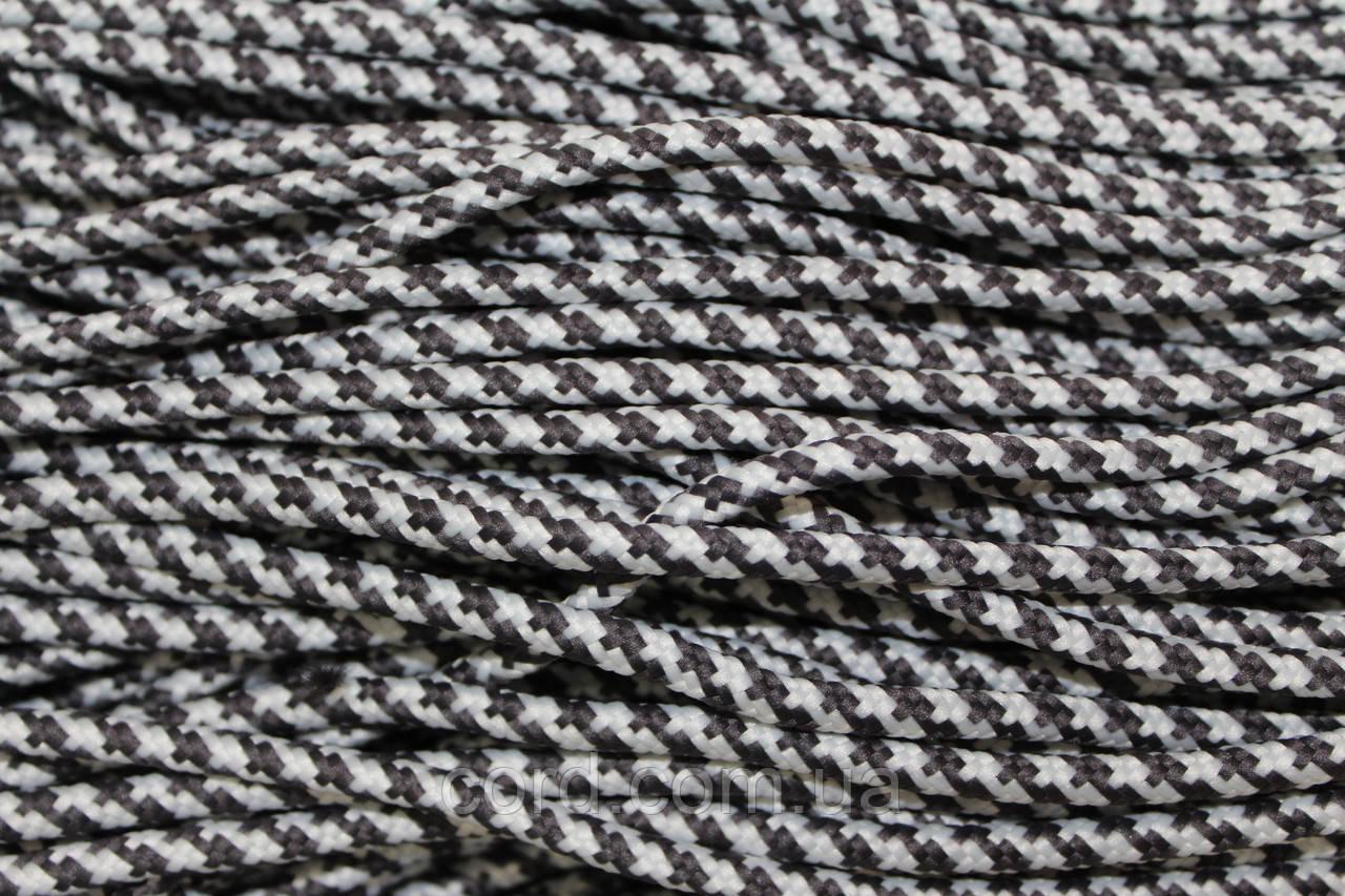 Шнур круглый 5мм с наполнителем 100м темно серый + белый