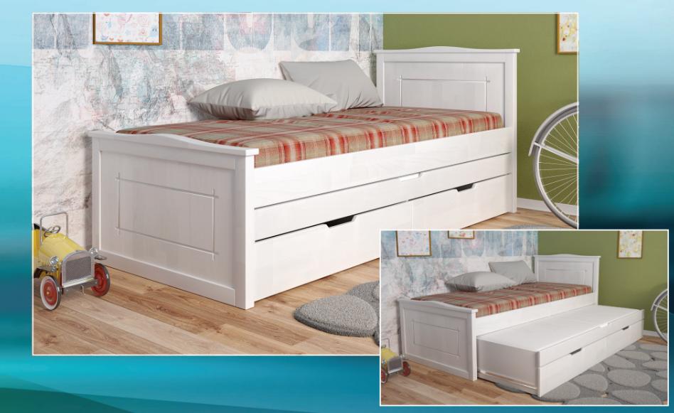 Дитяче, дерев'яне ліжко-з додатковим спальним місцем -Компакт Плюс