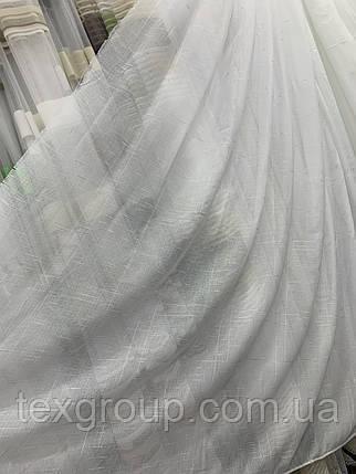 Тюль лён однотонный белый, фото 2