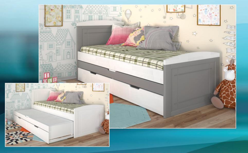 Детская, деревянная кровать-с дополнительным спальным местом -Компакт