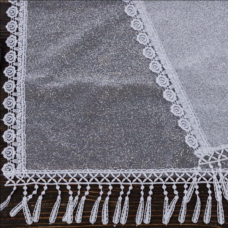 Венчальный шаль белый 135х45 см, арт. PV-1014