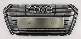 Решетка радиатора Audi A4 B9 (15-19) стиль S4 (серебро)