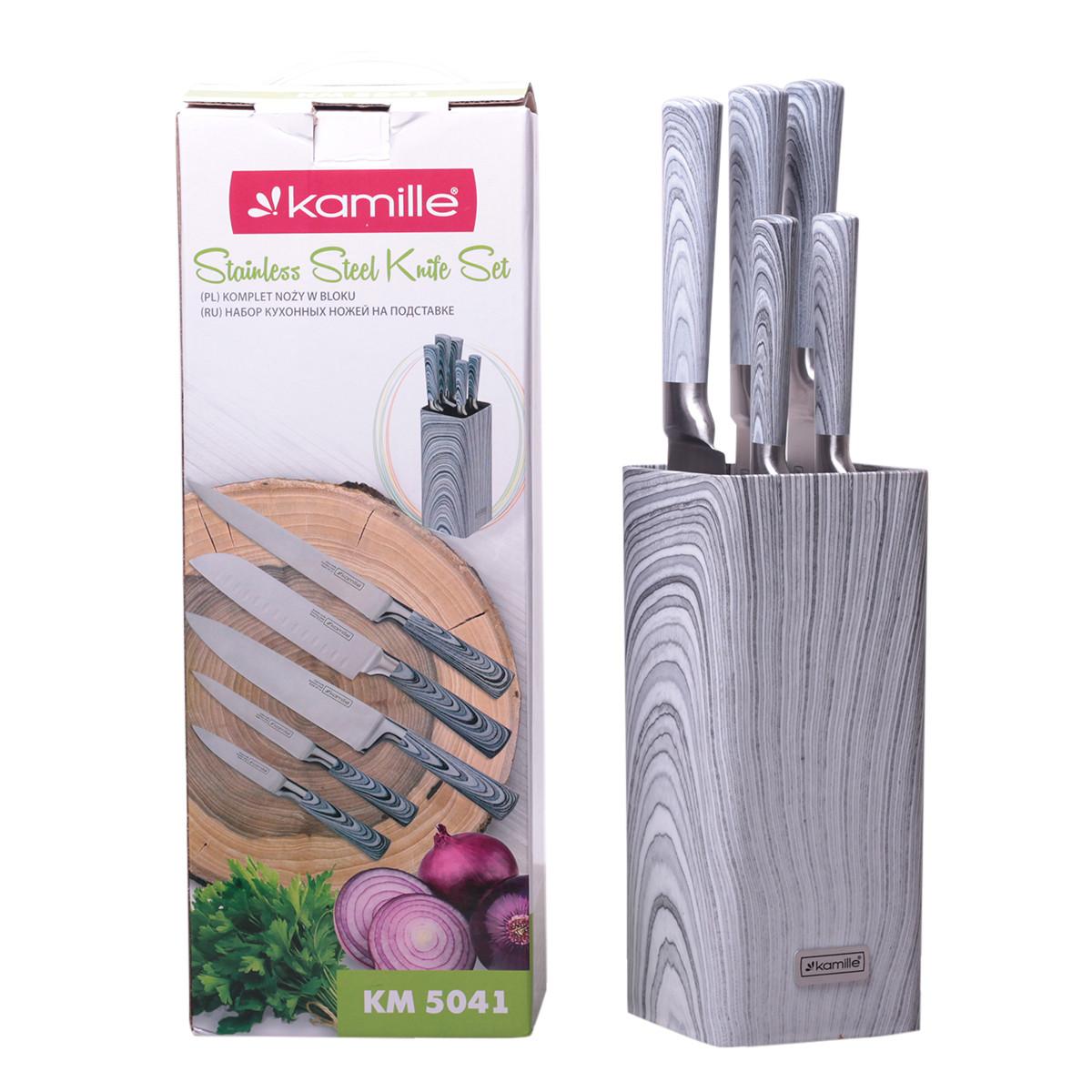 Набор ножей Kamille 6 предметов из нержавеющей стали (5 ножей+подставка) KM-5041