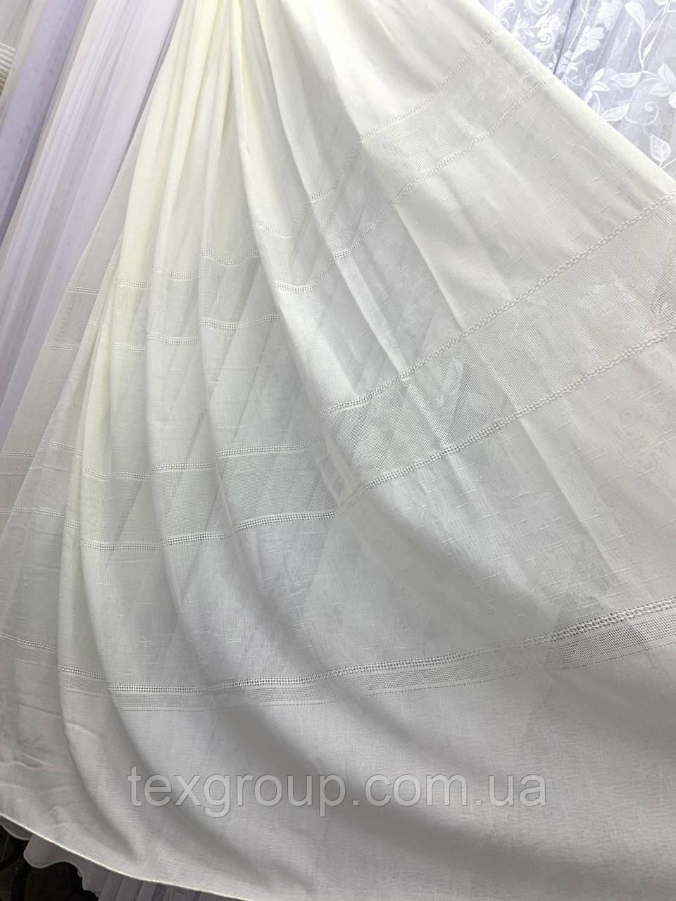 Тюль лён с плетением белый и крем L-14