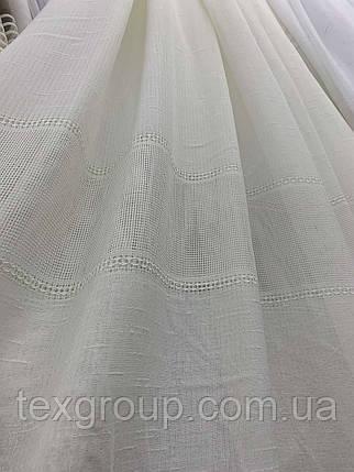 Тюль лён с плетением белый и крем L-14, фото 2