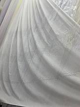Тюль лён с плетением белый и крем L-14, фото 3