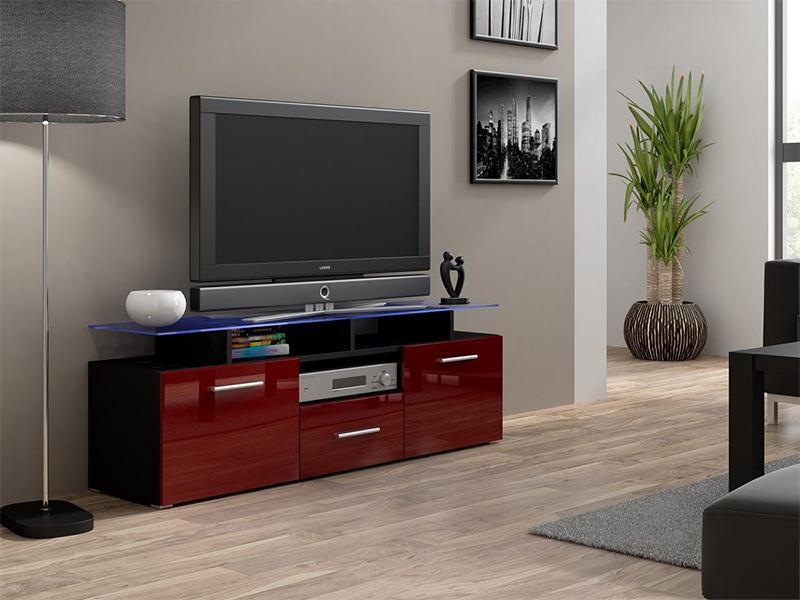 ТВ тумба EVORA MINI 147 чорний/бордо (CAMA)